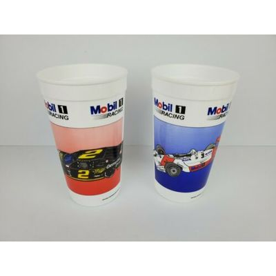 Set of (2) 1990s Mobil 1 Racing Formula 1 and Nascar, 24 Ounce Plastic Cups