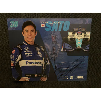 Takuma Sato 2019 Indy Car Indianapolis 500 Promo Card Autographed In Japanese!!!