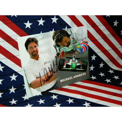 INDY CAR DRIVER MICHAEL ANDRETTI SIGNED 8 X 10 STATISTIC CARD..NICE