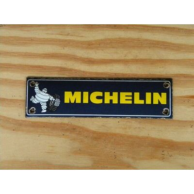 VINTAGE MICHELIN PORCELAIN SIGN BIBENDUM OIL TRUCK TIRES RACING FORMULA1 MOTO GP