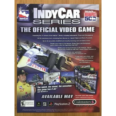 IndyCar Series Xbox PS2 2003 Vintage Print Ad/Poster Official Indianapolis 500