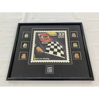 1999 Stock Car Racing Stamp Print w/ Unused Stamp & Pins Framed NASCAR NICE