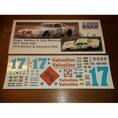"Hamby & Manning 1977 #17 ""Valvoline"" Olds 442 1/24th scale decals LoboGraphix"