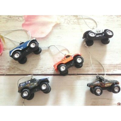Monster Jam Truck  Xmas Tree Ornaments  – set of 5- new