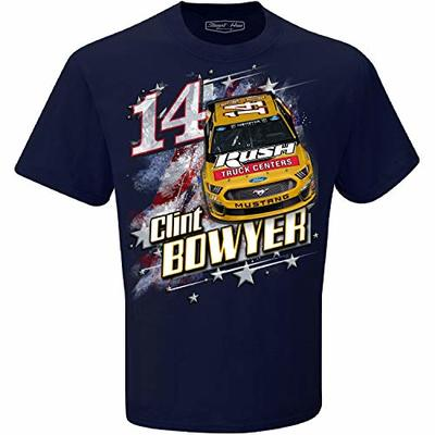Checkered Flag Clint Bowyer 2019 Patriotic Rush Truck Centers NASCAR T-Shirt (Large) Blue