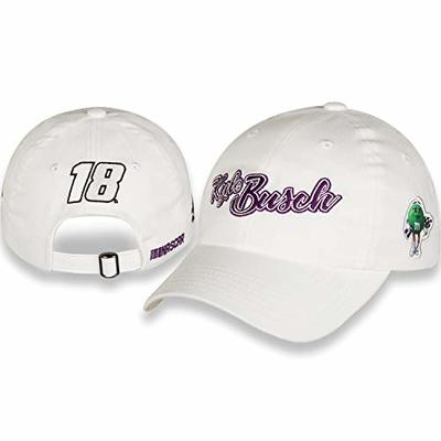 NASCAR Ladies White Kyle Busch Purple Script Hat/Cap with Sponsor on Side of This Adjustable Style