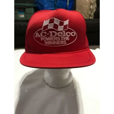 AC-DELCO POWERS THE WINNERS VINTAGE SNAPBACK TRUCKER HAT CAP NASCAR RACING
