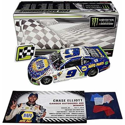 2X AUTOGRAPHED 2018 Chase Elliott & Rick Hendrick #9 NAPA Racing DOVER WIN (Raced Version) Hendrick Motorsports Signed Lionel 1/24 Scale NASCAR Diecast Car with COA (#0038 of only 1,261 produced)